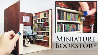 DIY Miniature Bookstore (shelves, books, brick walls)