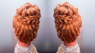 прическа объемная локоны плетение кос вокруг головы прически высокая романтическая легкая быстрая