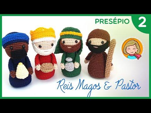 Presépio de Natal - Parte 2 (Três Reis Magos e Pastor) Amigurumi Passo a Passo - Por Glê Negri