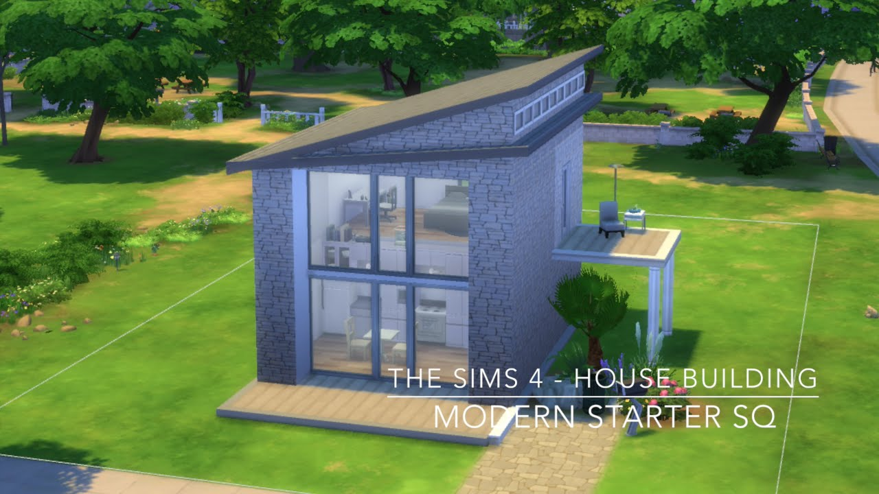 The sims 4 house building modern starter sq youtube for Minimalist house the sims 4