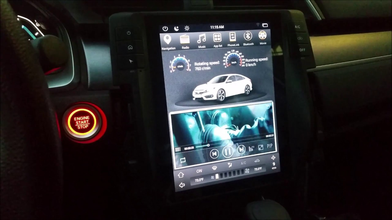 Part 1 Vertical screen Teslastyle Android navigation head unit for 2016 2017 Honda Civic DEMO