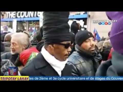Manifestasyon Haitien nan New York devan Trump Tower pou pawòl Haiti se peyi Trou Kaka a