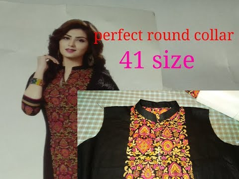 Perfect round collar neck cutting and stitching/kurti collar neck design cutting and stitching