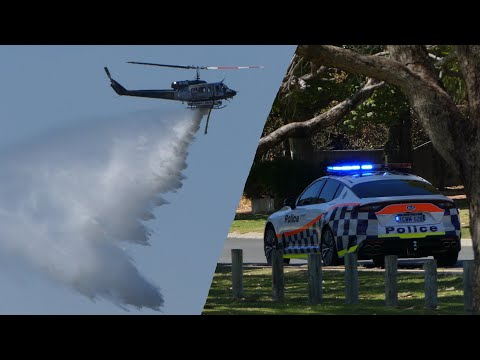 2 Helitacks Waterbombing Bushfire In Atwell, W.A. 10 Jan 2020
