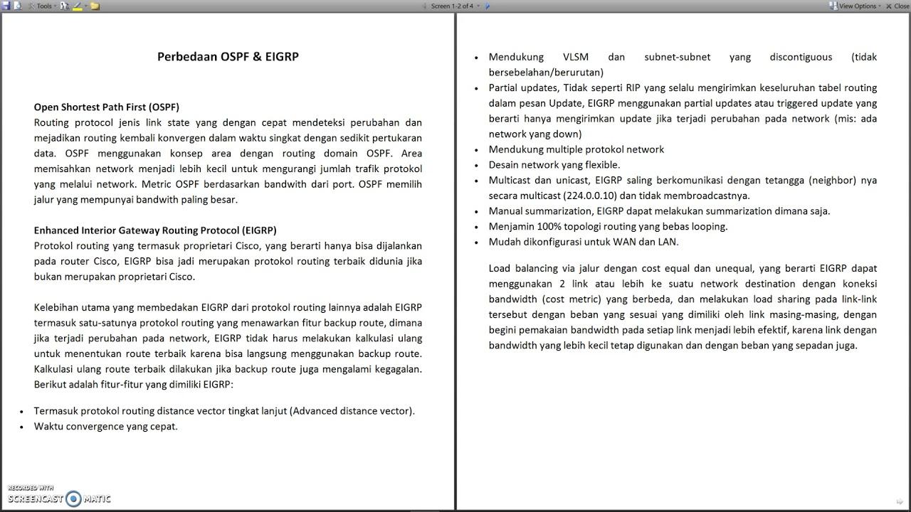 Perbedaan Dan Perbandingan Antara Ospf Eigrp