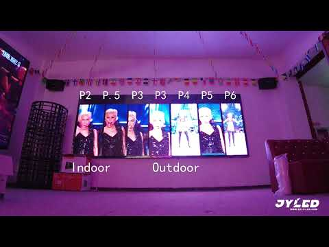 Compare indoor P2 P2.5 P3 and outdoor P3 P4 P5 P6 led video wall --- JYLED