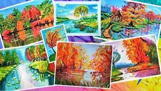 Как нарисовать осень. Все уроки рисования. How to draw an Autumn.