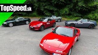 Porovnanie 4 generácií Mazda MX-5 (NA, NB, NC, ND) TopSpeed.sk