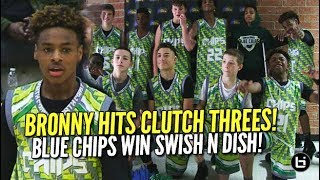 LeBron James Jr Hits Clutch Threes! Blue Chips Tested in Swish N Dish Title Game! Full Highlights!
