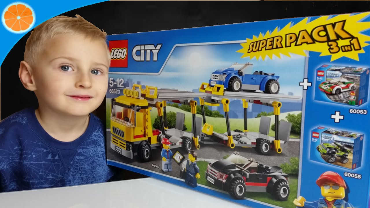 lego city 3 in 1 super pack 66523 auto transporter 60060 city race car 60053 monster truck. Black Bedroom Furniture Sets. Home Design Ideas