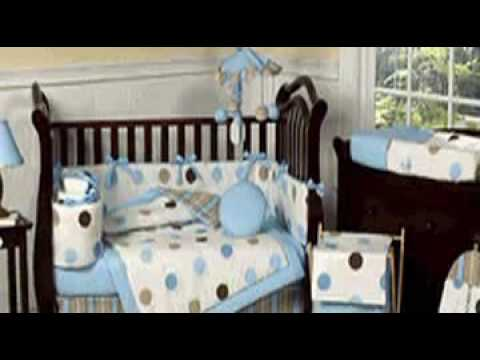 Blue And Brown Modern Polka Dots Baby Crib Bedding Set By Jo