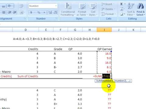 Excel 2007 tutorial 11 calculating your gpa youtube calculating your gpa ccuart Choice Image