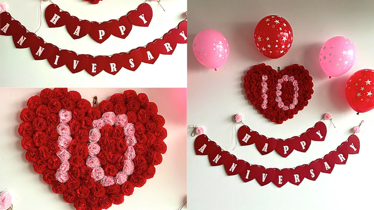 Simple Anniversary Decoration Ideas At Home Romantic Room Decor Ideas Diy Heart Banner Youtube