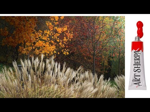 How to paint with Acrylic on Canvas Fantasy Fall grasses abstract