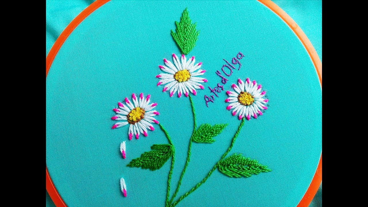 Double Color Thread Daisy Flowers With Lazy Daisy Stitchmargaritas