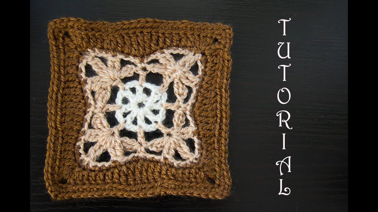 Kwadrat na szydełku (na pled/poduszkę). Crochet a granny square. Tutorial