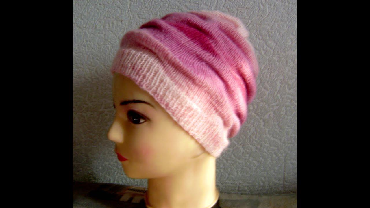 шапка женская связать схема из толстой пряжи спицами