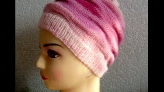 Простая красивая шапочка узором клоке связанная спицами - мастер-класс #ЛюдмилаТен