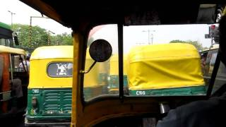 Auto Rickshaw ride up Mahatma Ghandi Marg to the Oberoi Maidens Hotel on 4/27/2011.