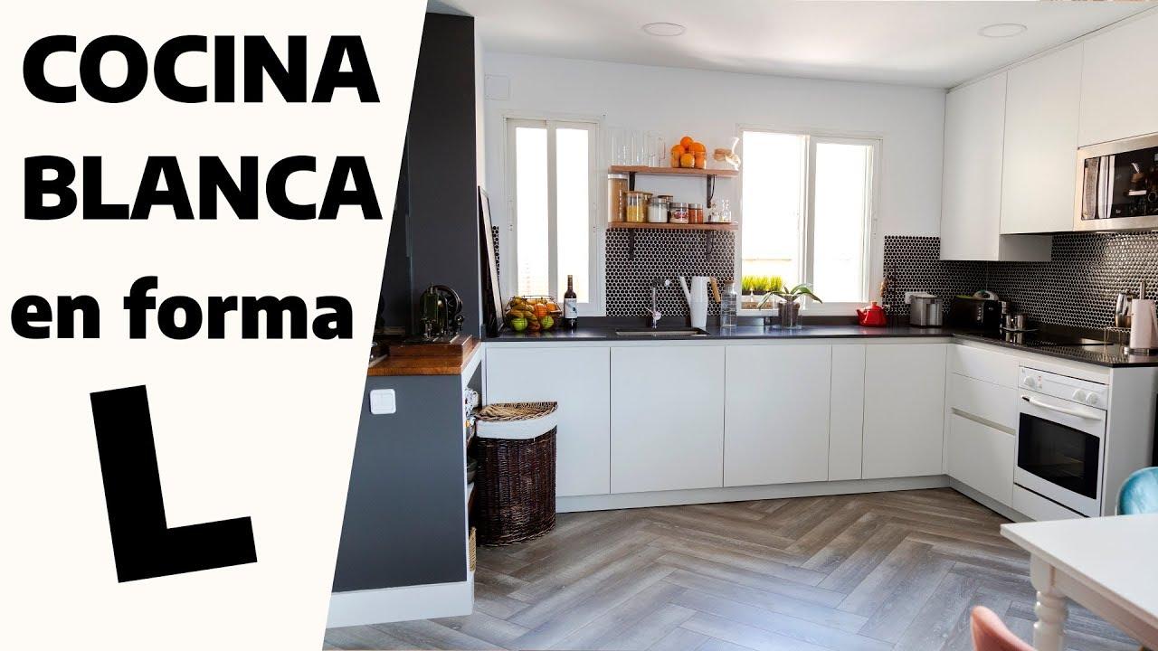 fotos de cocina blanca Cocina MODERNA Y ABIERTA BLANCA En Forma De L