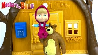 UNBOXING MASHA AND THE BEAR - BEAR'S HOUSE A PORTABLE PLAYSET & STORY WITH MASHA SCARED OF LIGHTNING