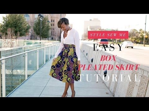 Easy Box Pleated Skirt Tutorial   No Math Needed