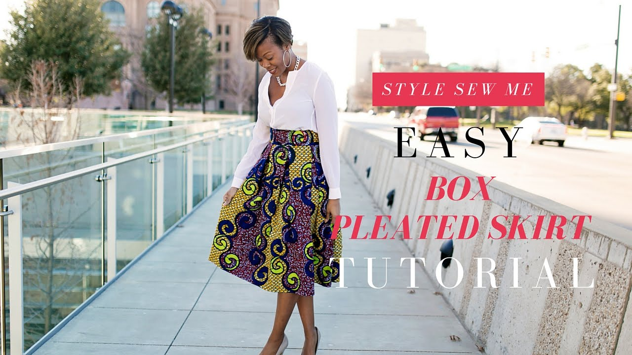 Easy Box Pleated Skirt Tutorial No Math Needed - YouTube