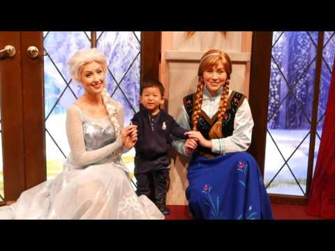 Joseph meet Elsa & Anna at Disneyland California 2016