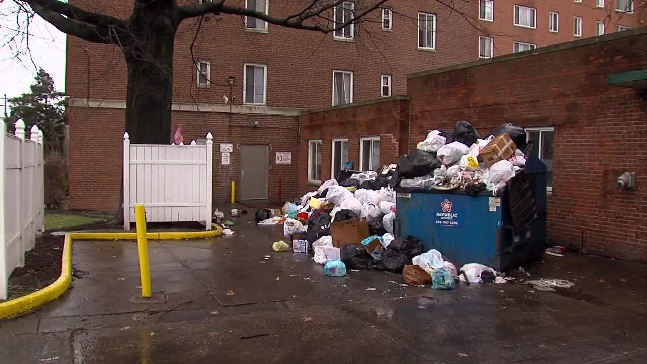 Dumpsters Overflowing Trash Piling Up At East Cleveland Apartments