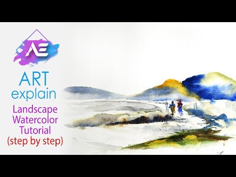 Hill Watercolor Painting Landscape Tutorial | How to paint a watercolor landscape | Art Explain