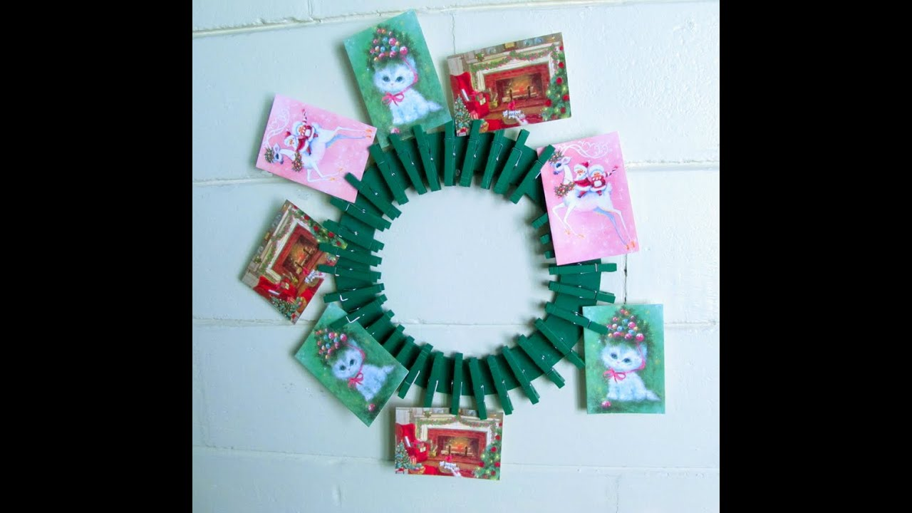 Exceptional Christmas Card Display Wreath   YouTube