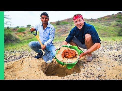 RARE Indian Desert Food! Cooking Underground Rajasthani Style! (Khad Lamb)
