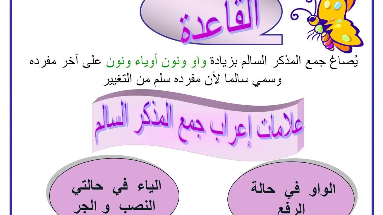 إعراب جمع المذكر السالم صف سادس عرب Youtube