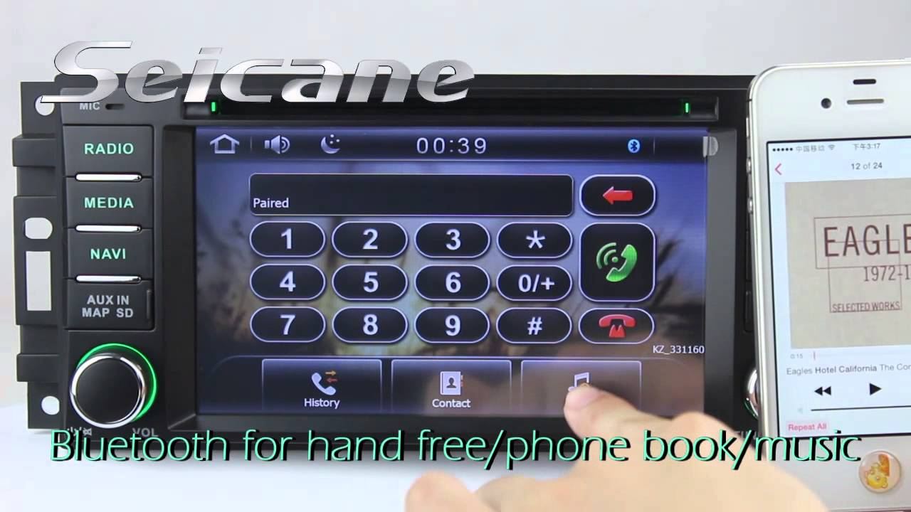 2007 2008 2009 2010 Chrysler Sebring Aftermarket Bluetooth Stereo With Wireless Hands Free Aux