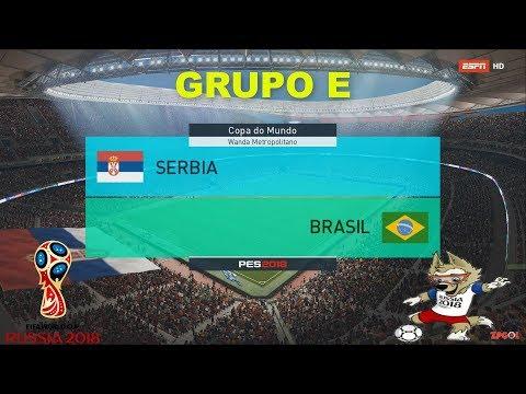 SERBIA VS BRASIL | PES 2018 | GRUPO E # 3 | FIFA World Cup | OPTION FILE broadcast camera