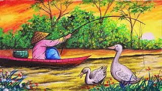 How to draw scenery/landscape of Summer Seaso with  Fishing man step by step (Drawing Video)