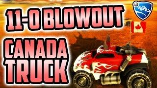 Rocket League: 11-0 BLOWOUT!!! (4v4 W/ Canada Truck)