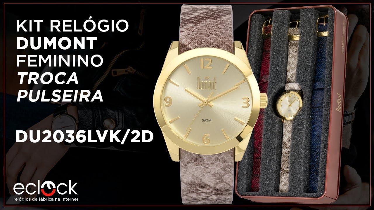 3cda2534081 Relógio Dumont Feminino Vip Troca Pulseiras DU2036LVK 2D - Eclock ...