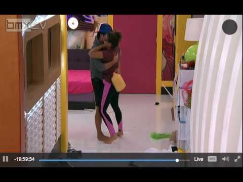 Big Brother Natalie and James hug and Kiss Day before Eviction on Sept 7, 2016. Jatalie BB18
