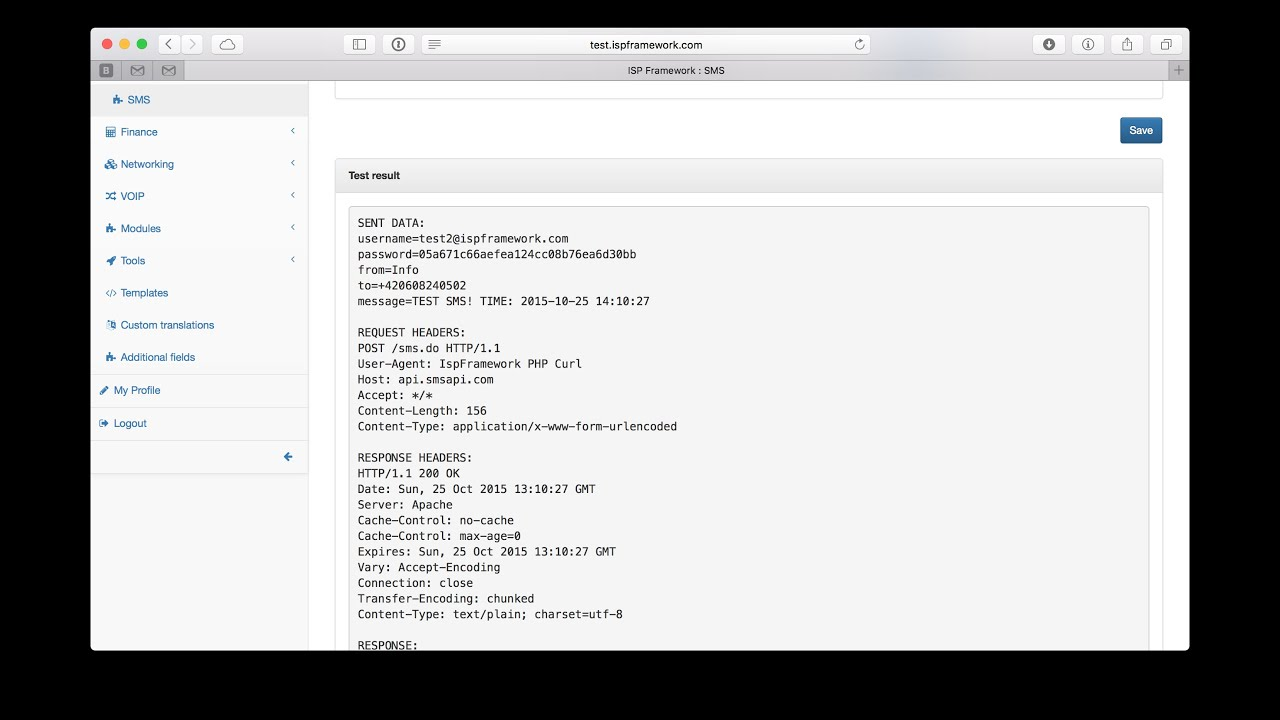 Configure SMS in IspFramework