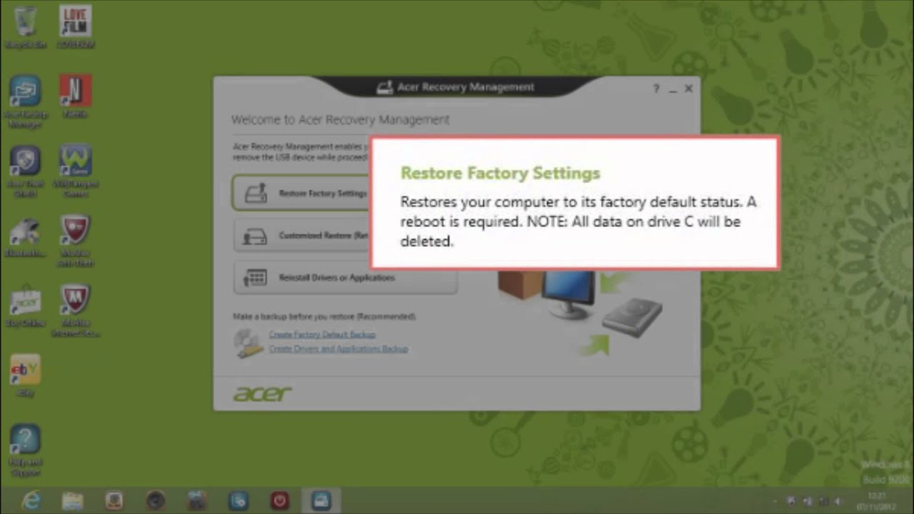 acer erecovery management francais