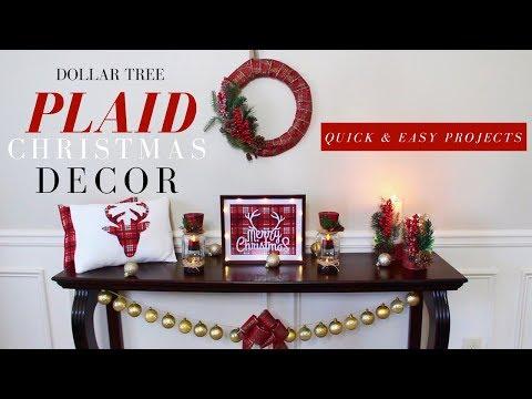 DOLLAR TREE CHRISTMAS DECORATIONS | DIY PLAID CHRISTMAS DECOR