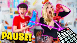 Mystery SLIME Pause Challenge vs 13 YEAR OLD Little Brother
