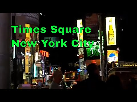 Times Square at Night Manhattan NYC Advertising Billboards Buildings and People