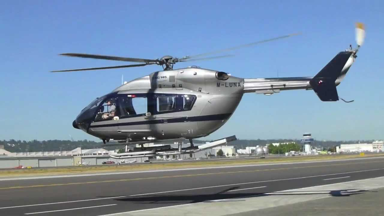 eurocopter ec145 helicopter taking off at kbfi seattle youtube