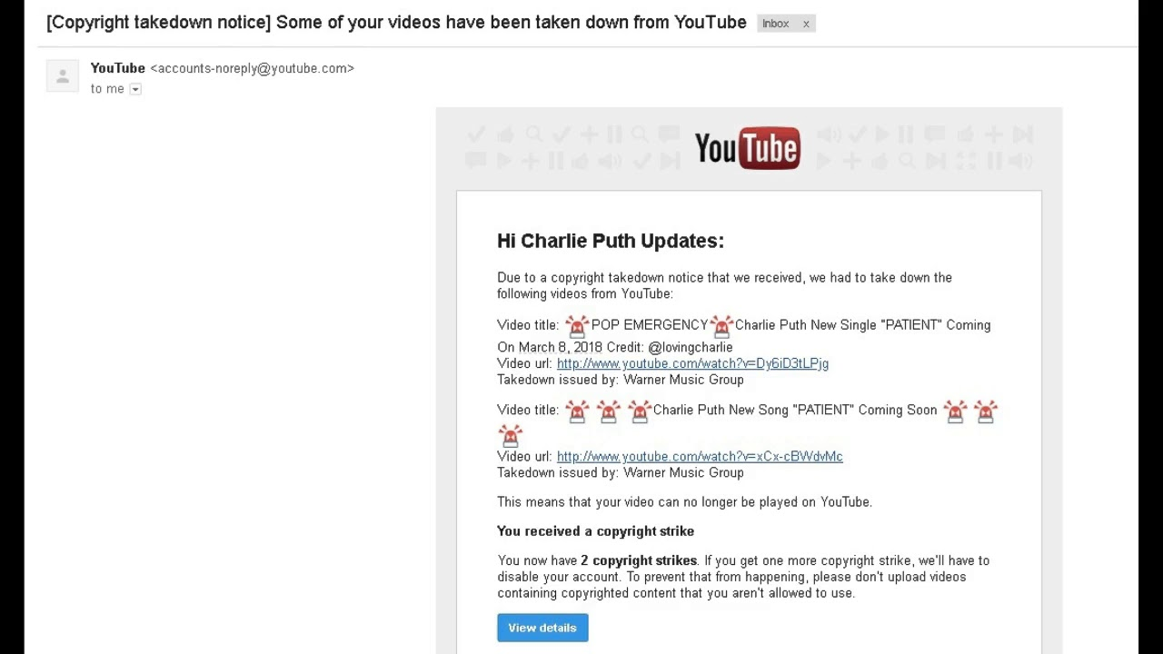 The Reason Those Two Videos Have Been Taken Down Youtube