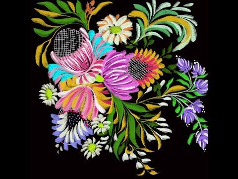 Decorative Digital Painting 100- Decorative Floral Composition/ Digital Folk Art