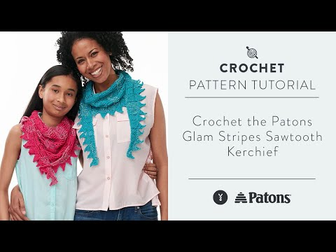 Crochet The Patons Glam Stripes Sawtooth Kerchief Youtube