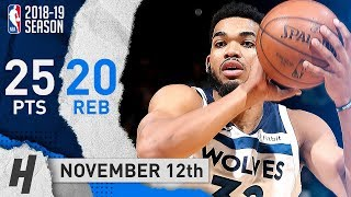 Karl-Anthony Towns Full Highlights Wolves vs Nets 2018.11.12 - 25 Points, 20 Reb, 2 Blks