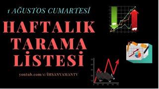 1 AĞUSTOS HAFTALIK TARAMA LİSTESİ.